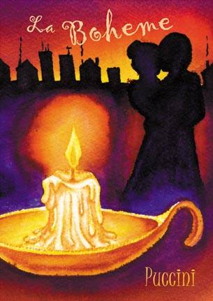 Picture of candle, with Paris and a couple in silhouette for La Boheme by Puccini