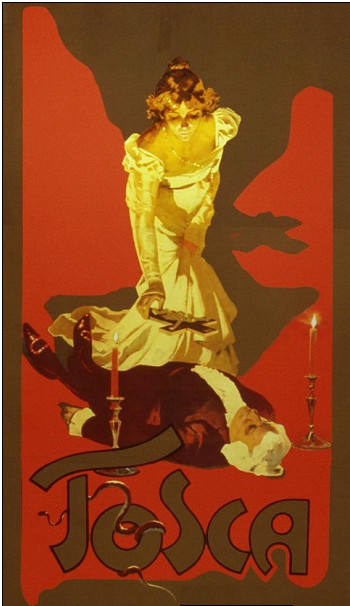 Original poster for Tosca (cropped), showing Tosca putting a crucifix on Scarpia's body.