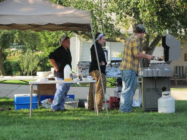 Chef Jodi and crew preparing dinner outside