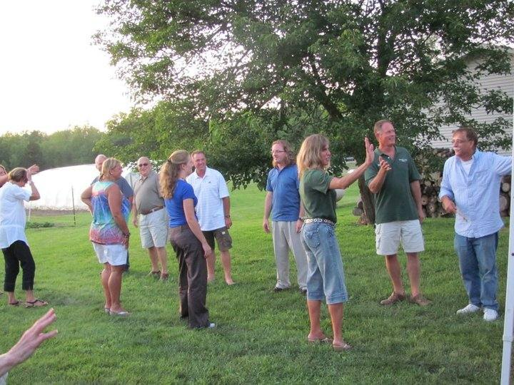 lined up for the square dance, Brandon and Tammera couple #1
